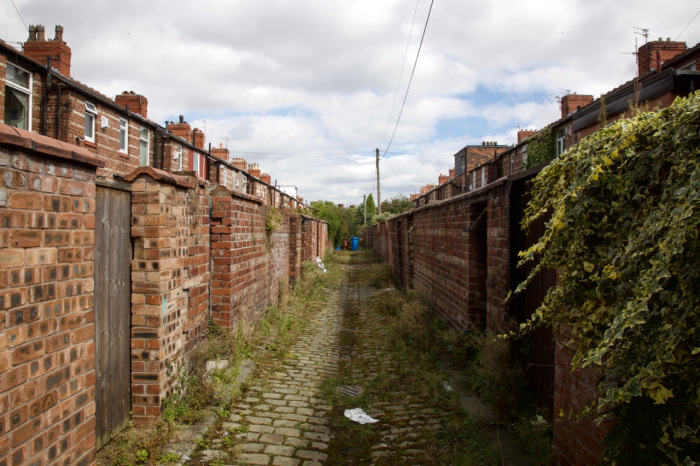 Back alley between streets in Moss Side